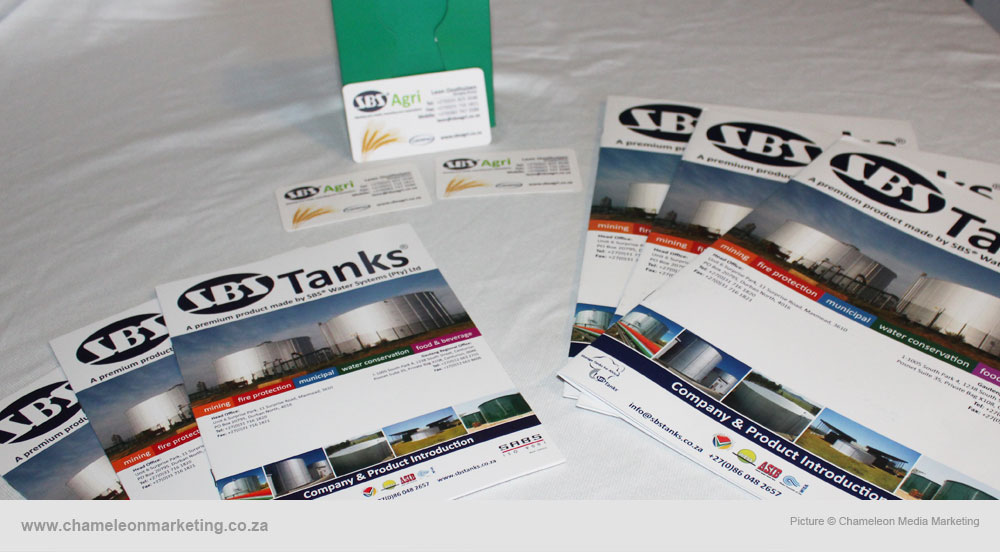 Product brochures, business cards and flyers