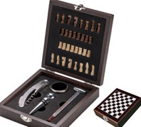 Wine set, Chess set in wooden gift box