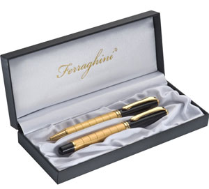 Ferraghini Writing Set with Classic Gold Trim