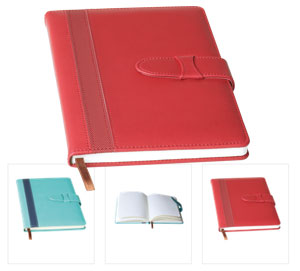 A5 Contrast Stripe Notebook with Tuck Flap