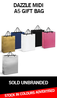 A5 Gift Bag, Gift bag in Black, white, Gold, Silver, Blue and Pink